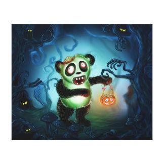 Bosque de Halloween de la panda del zombi Lienzo Envuelto Para Galerías