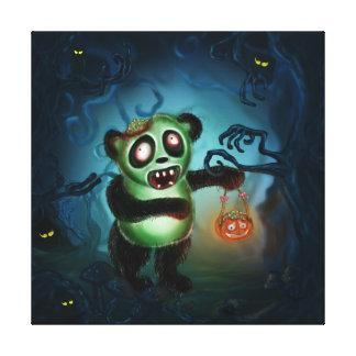 Bosque de Halloween de la panda del zombi Impresión En Lienzo Estirada