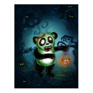 Bosque de Halloween de la panda del zombi Postales