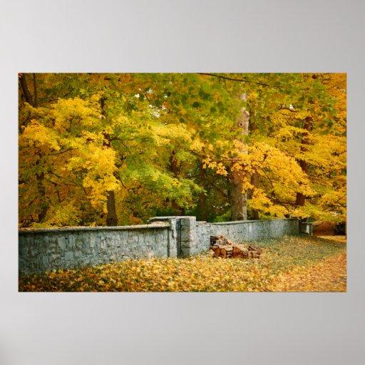 Bosque de la caída y pared de piedra posters