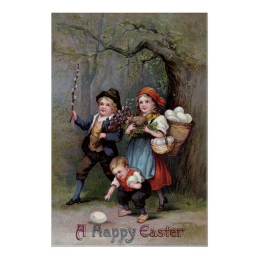 Bosque de la caza del huevo de Pascua del conejito Póster