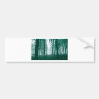 Bosque de la fantasía con niebla en verde pegatina para auto