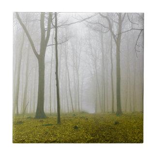 Bosque de la fantasía con niebla y follaje azulejo cuadrado pequeño