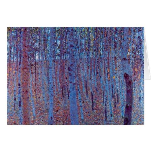 Bosque de la haya de Gustavo Klimt, arte Nouveau Felicitacion