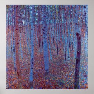 Bosque de la haya de Gustavo Klimt Poster