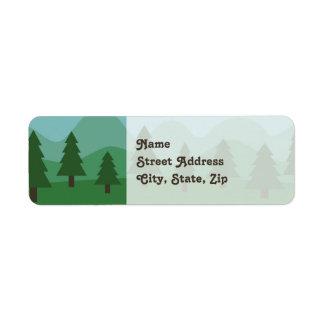Bosque de la montaña etiqueta de remitente
