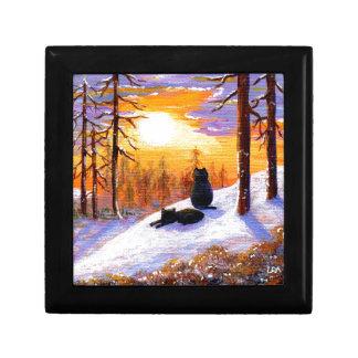 Bosque de la puesta del sol del paisaje del joyero cuadrado pequeño