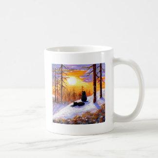 Bosque de la puesta del sol del paisaje del taza