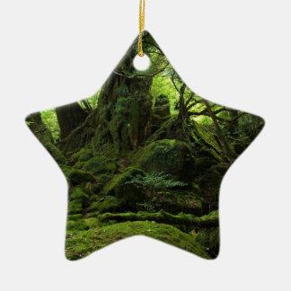 Bosque de la selva del musgo adorno navideño de cerámica en forma de estrella