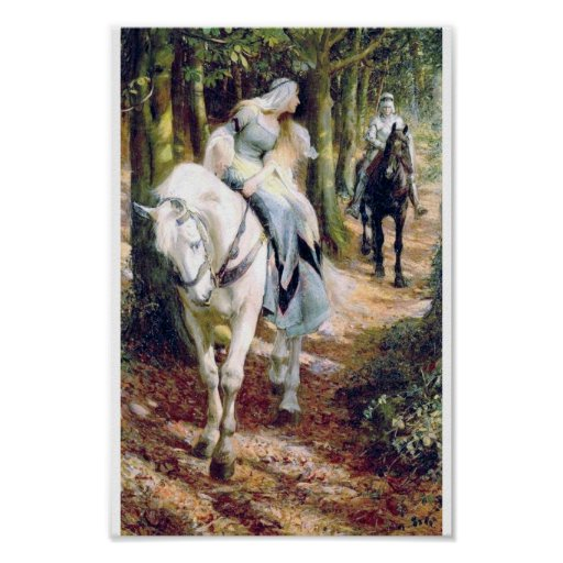 bosque de la señora del caballo blanco del caballe impresiones