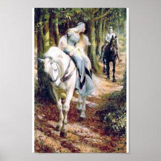 bosque de la señora del caballo blanco del caballe póster