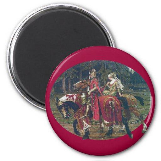 Bosque de los caballos de la pintura de la señora  imán redondo 5 cm