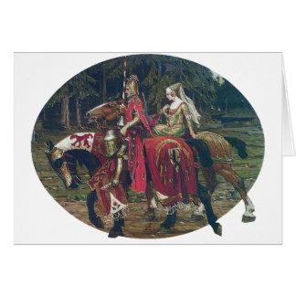 Bosque de los caballos de la pintura de la señora  tarjetón