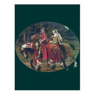 Bosque de los caballos de la pintura de la señora  tarjetas postales