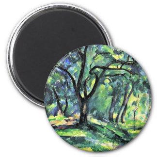 Bosque de Paul Cézanne (la mejor calidad) Imán Redondo 5 Cm
