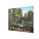 Bosque de Windsor con los bueyes que dibujan la ma Lona Estirada Galerías