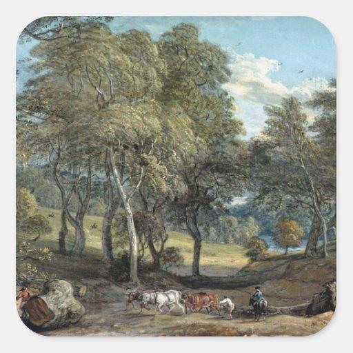 Bosque de Windsor con los bueyes que dibujan la Pegatina Cuadrada