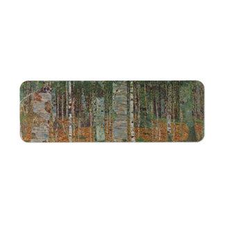 Bosque del abedul de Gustavo Klimt, arte Nouveau Etiqueta De Remitente