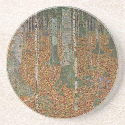 Bosque del abedul de Gustavo Klimt, arte Nouveau Posavasos Para Bebidas