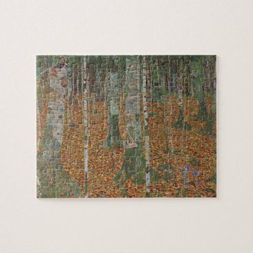 Bosque del abedul de Gustavo Klimt, arte Nouveau Rompecabezas Con Fotos