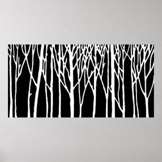 Bosque del abedul por las pimientas de Leslie Póster