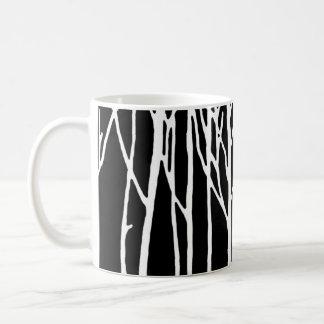 Bosque del abedul por las pimientas de Leslie Tazas De Café