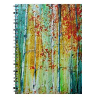 Bosque del árbol de abedul libros de apuntes con espiral
