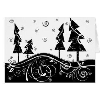 bosque del b&w tarjeta de felicitación