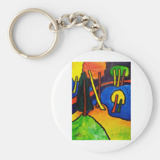 Bosque del expresionismo llavero redondo tipo pin