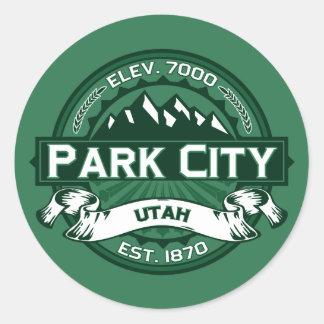 Bosque del logotipo de Park City Pegatina Redonda