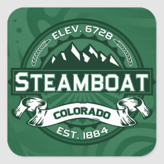 Bosque del logotipo del barco de vapor pegatina cuadrada