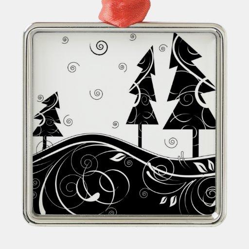 Bosque del navidad adorno navideño cuadrado de metal