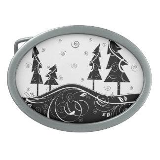 Bosque del navidad hebilla de cinturón oval