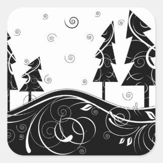 Bosque del navidad pegatinas cuadradas personalizadas