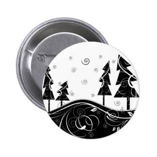 Bosque del navidad pin redondo de 2 pulgadas