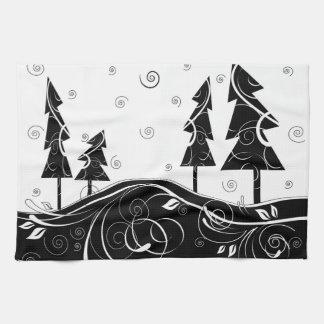 Bosque del navidad toalla de mano