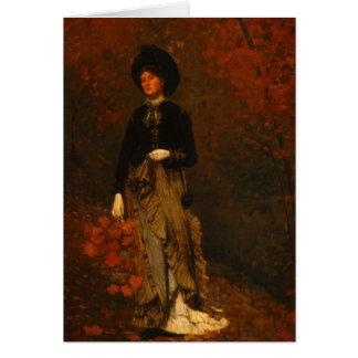 Bosque del otoño con la mujer que vaga tarjeta de felicitación