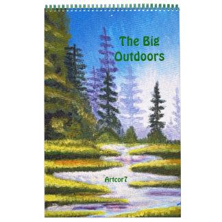 Bosque del pino que pinta la sola página de 2015 calendarios de pared