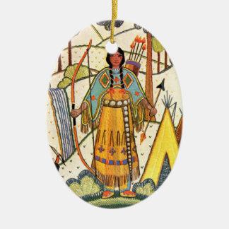 Bosque del pueblo de la mujer del nativo americano adorno navideño ovalado de cerámica