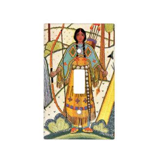 Bosque del pueblo de la mujer del nativo americano cubiertas para interruptor