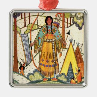 Bosque del pueblo de la mujer del nativo americano adorno cuadrado plateado