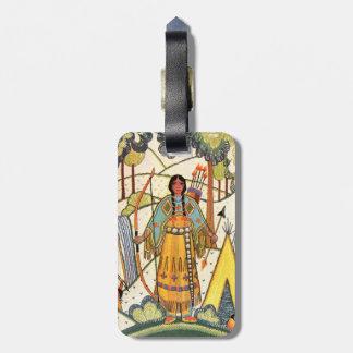 Bosque del pueblo de la mujer del nativo americano etiquetas para equipaje