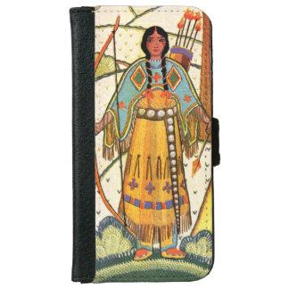 Bosque del pueblo de la mujer del nativo americano funda cartera para iPhone 6