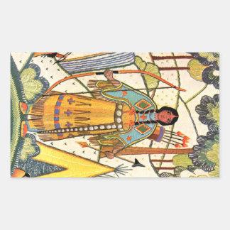 Bosque del pueblo de la mujer del nativo americano pegatina rectangular
