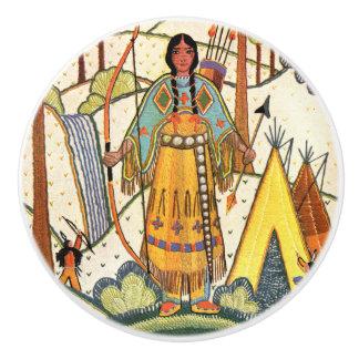 Bosque del pueblo de la mujer del nativo americano pomo de cerámica