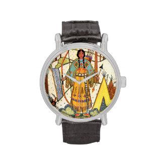 Bosque del pueblo de la mujer del nativo americano reloj