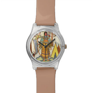 Bosque del pueblo de la mujer del nativo americano reloj de mano