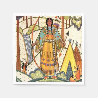 Bosque del pueblo de la mujer del nativo americano servilleta de papel