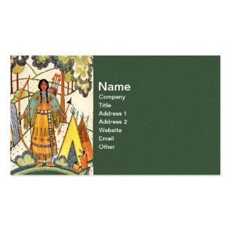Bosque del pueblo de la mujer del nativo americano tarjetas de visita