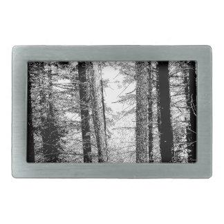 Bosque en blanco y negro hebilla de cinturon rectangular